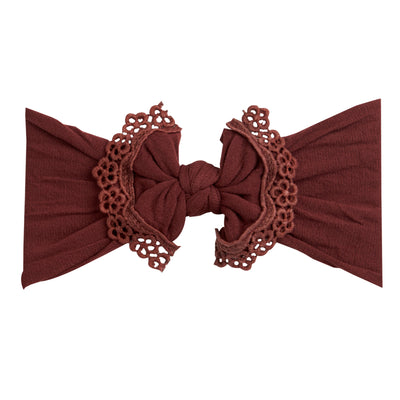 Lace Trim Nylon Headwrap Burgundy 30