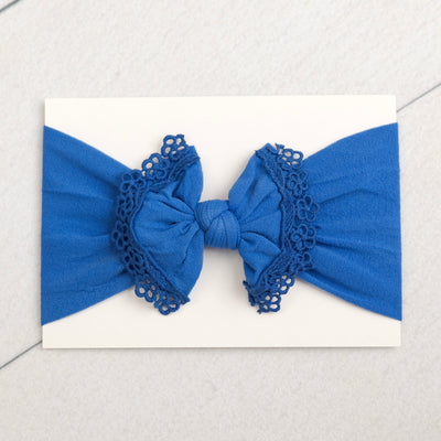 Lace Trim Nylon Headwrap Royal Blue 23