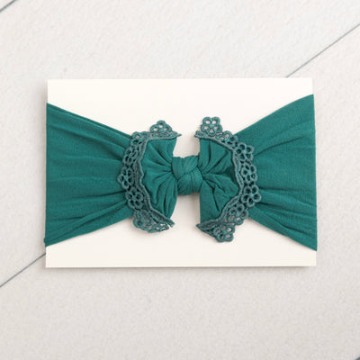 Lace Trim Nylon Headwrap Forest Green 32