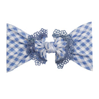 Lace Trim Nylon Headwrap Checkered Blue