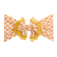 Lace Trim Nylon Headwrap Checkered Yellow
