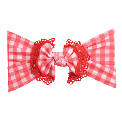 Lace Trim Nylon Headwrap Checkered Red