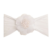 Belle Nylon FLOWER Headwraps WHITE 20