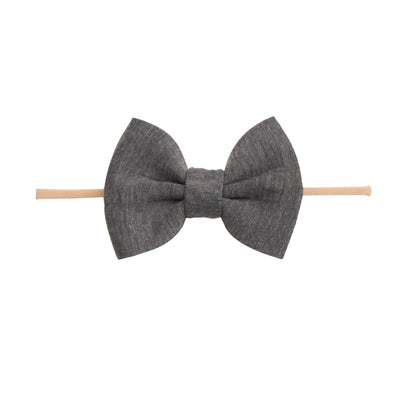 PUFF Bow Nylon Headband Neutral Grey 17
