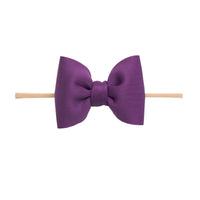 PUFF Bow Nylon Headband Eggplant 12