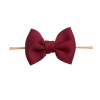 PUFF Bow Nylon Headband Burgundy 1