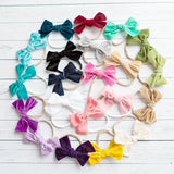 Spring Light Weight Velvet  Bows on Skinny Nylon Headband 21 Colors Available