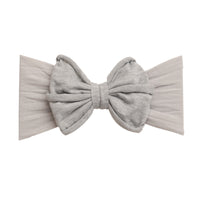 Rolled Bow on Nylon Headwrap Pearl Grey 10