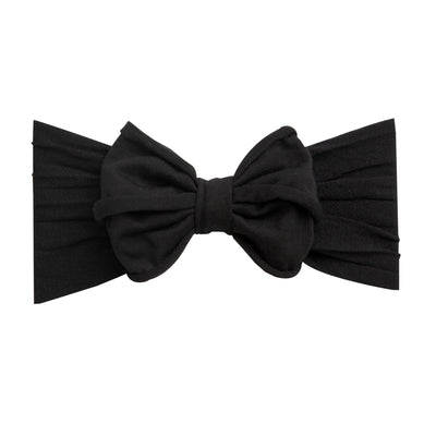 Rolled Bow on Nylon Headwrap Black 26