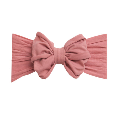 Rolled Bow on Nylon Headwrap Dusty Rose 13