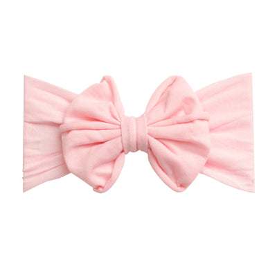 Rolled Bow on Nylon Headwrap Lt. Pink 4