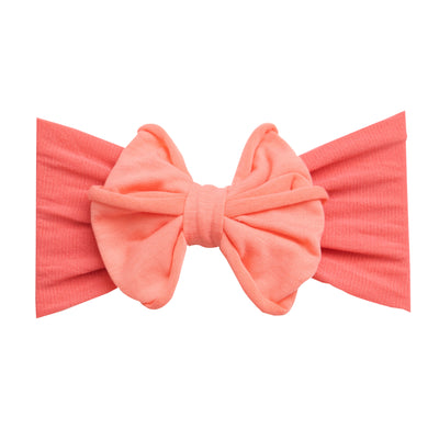 Rolled Bow on Nylon Headwrap Coral 9