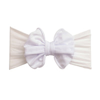 Rolled Bow on Nylon Headwrap White 20