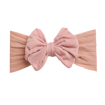 Rolled Bow on Nylon Headwrap Vintage Blush 27