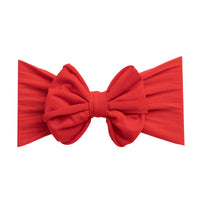 Rolled Bow on Nylon Headwrap True Red 24