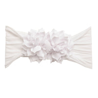Duo Flower Nylon Headwrap White 20