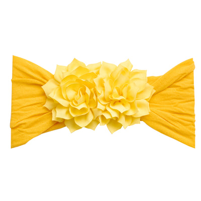 Duo Flower Nylon Headwrap Yellow 11