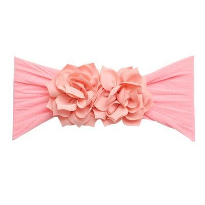Duo Flower Nylon Headwrap Blush Pink 27