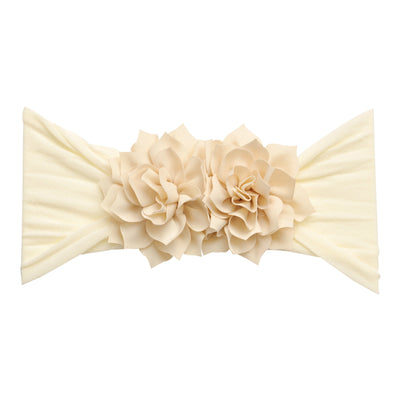 Duo Flower Nylon Headwrap Ivory 8