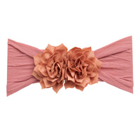 Duo Flower Nylon Headwrap Dusty Rose 13