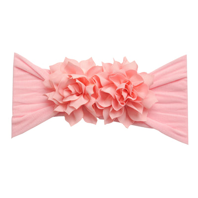 Duo Flower Nylon Headwrap Pink 4