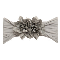 Duo Flower Nylon Headwrap Pearl Grey 10