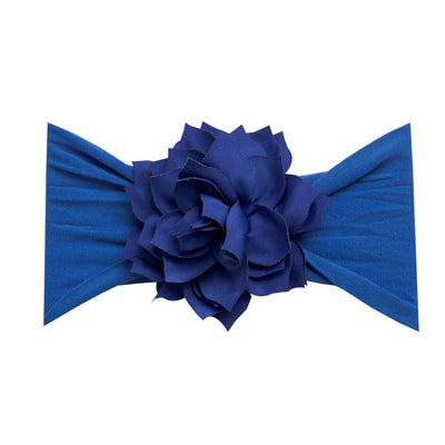 Dahlia Nylon FLOWER Headwraps ROYAL BLUE 23
