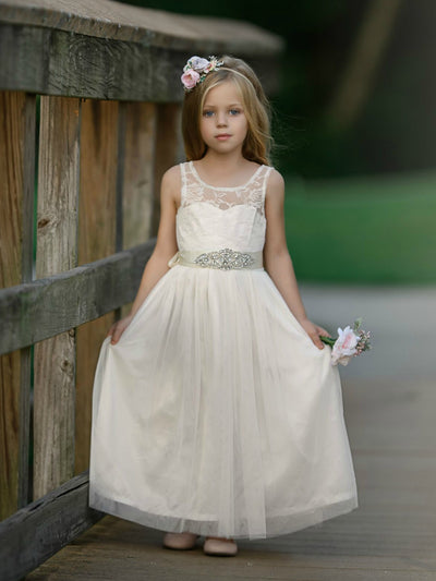 Vienna Flower Girl Lace Dress Ivory