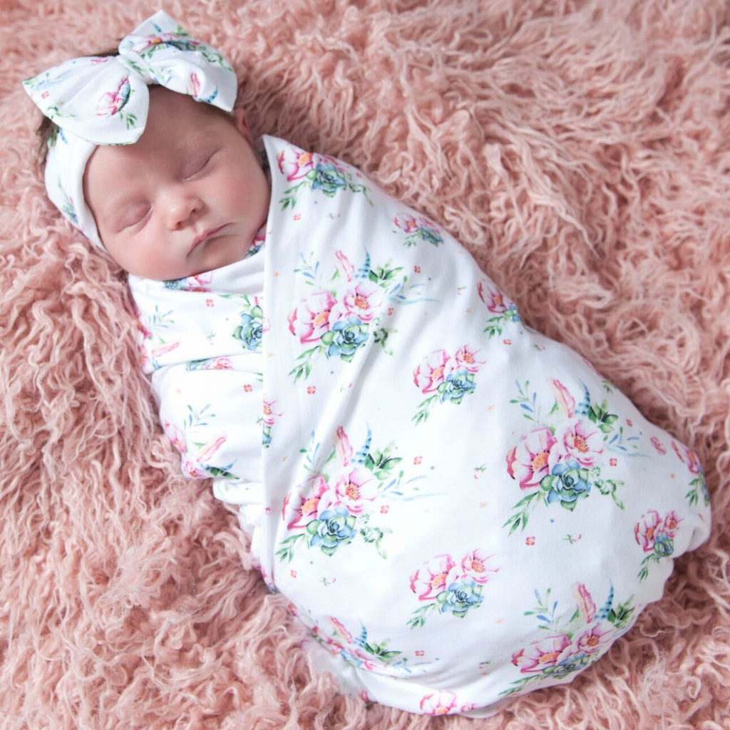 Baby Cotton SWADDLE Hat   Headband SET 4 Styles – Think Pink Bows f3a61a27d16