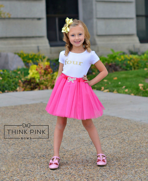 One, Two, Three, Four, and Five Birthday Glitter shirts - Think Pink Bows - 1