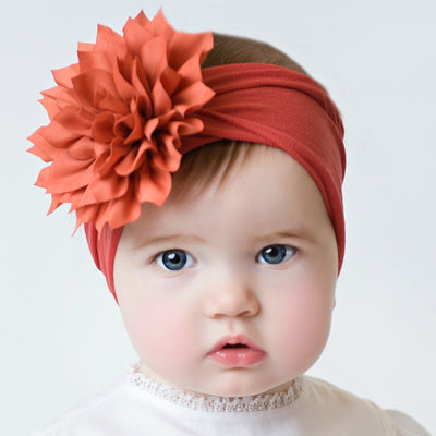 Dahlia Nylon FLOWER Headwraps RUST 46