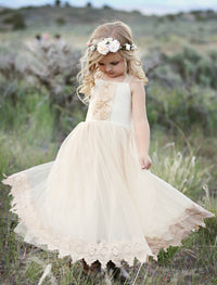 Francesca Flower Girl Lace Dress Champagne