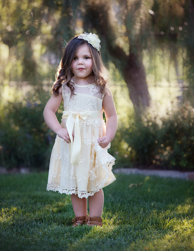 Lizzie Flower Girl Lace Dress Vintage Champagne