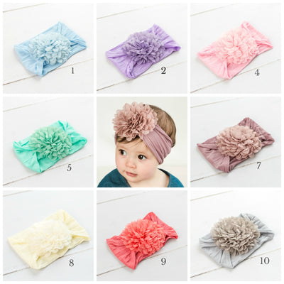 Flower Blossom Nylon Headwraps 13 Colors