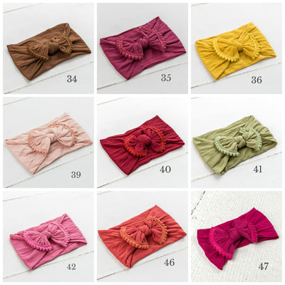 Pom Pom Nylon Headwrap - 43 Colors