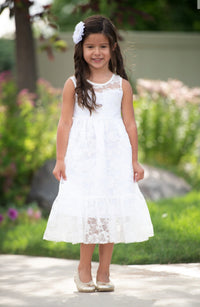 Ella Flower Girl Lace Sleeveless Dress - Off White