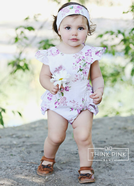 Tea Party Baby Girl Romper - Think Pink Bows - 1