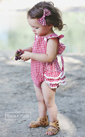 Picnic Fun Baby Girl Romper - Think Pink Bows - 1