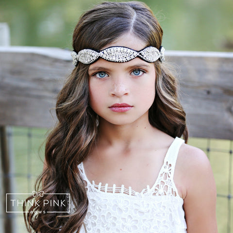 Look At Me Rhinestone Flower Girl Bridal Headband - Think Pink Bows - 1