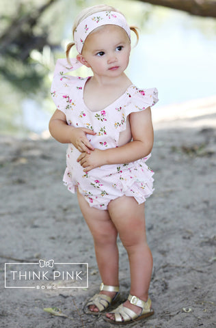 Sweet Flower Baby Girl Romper - Think Pink Bows - 1