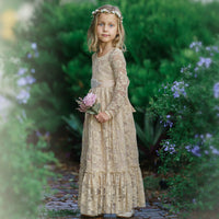 Sweetheart Flower Girl Lace Long Sleeve Dress - Champagne