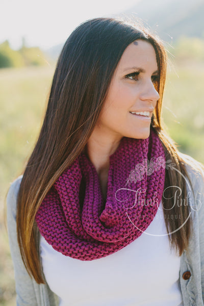 Plum Knitted Infinity Scarf - Think Pink Bows - 1