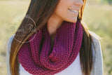 Plum Knitted Infinity Scarf - Think Pink Bows - 4