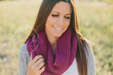 Plum Knitted Infinity Scarf - Think Pink Bows - 2