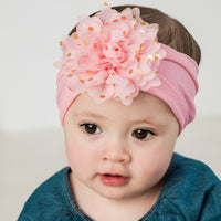 Gold Dots Flower Headwrap - 12 Colors