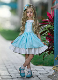 Madison Twirl Dress Aqua