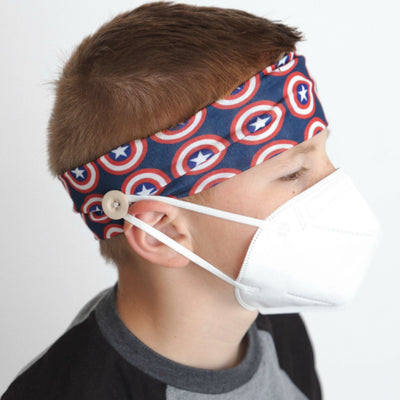 Mask Holder Headband Capitan America SHIELD Print 12