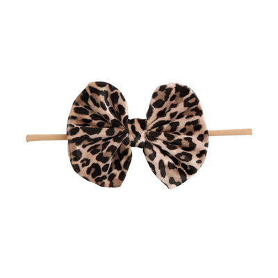 Velvet Bow on Skinny Nylon Headband  Leopard Print 9
