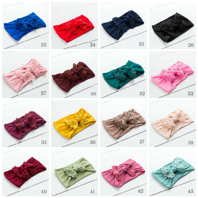 Lace Trim Style 2 Nylon Print Headwraps 35 Colors