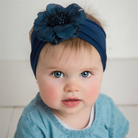 Belle Nylon FLOWER Headwraps NAVY 25